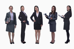 Portrait of five young smiling businesswomen, looking at camera, studio shot Royalty Free Stock Photos