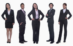 Portrait of five young smiling businesswomen and young businessmen, looking at camera, studio shot Stock Photo