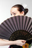 Portrait of flamenco dancer with fan Stock Photos