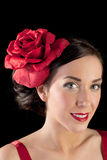 Portrait of a flamenco dancer in red Stock Photo