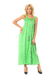 Portrait of flirtatious woman in green maxi dress isolated on wh Royalty Free Stock Photo