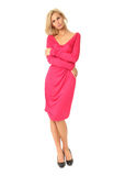 Portrait of flirtatious woman in pink cocktail dress isolated on Royalty Free Stock Image