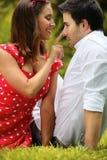 Portrait of flirting beautiful couple Stock Image