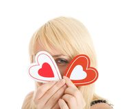 Portrait of flirting woman closed your face Royalty Free Stock Image