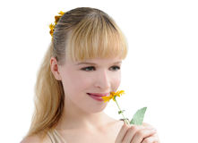 Portrait with flower Stock Photography