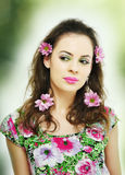 Portrait with flowers. A spring portrait realised in studio royalty free stock photography