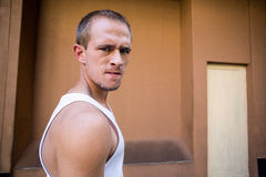 Portrait of a focused man in the city Royalty Free Stock Photography