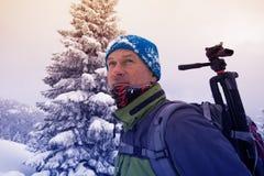 Portrait of focused traveler photographer Stock Photos