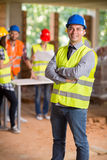 Portrait of foreman of construction workers. Portrait of foreman at construction site stock photo