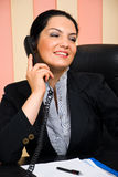Portrait of formal businesswoman talk by phone Stock Photo