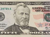 Portrait of former U.S. president Ulysses Grant. macro from 50 dollars royalty free stock photography