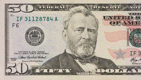 Portrait of former U.S. president Ulysses Grant. macro from 50 dollars royalty free stock photo