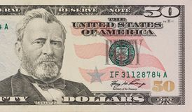 Portrait of former U.S. president Ulysses Grant. macro from 50 dollars stock photo