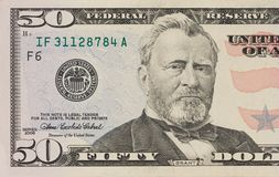 Portrait of former U.S. president Ulysses Grant. macro from 50 dollars royalty free stock image