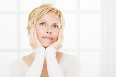 Portrait of forty years woman. Nice, forty years old woman with short blonde Stock Photo