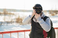 Bearded man in winter travels. Stock Images