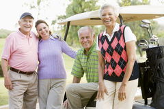 Portrait Of Four Friends Enjoying A Game Golf Stock Images