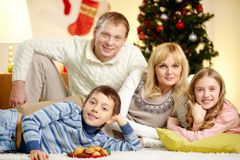 Family resting Stock Images