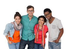 Portrait of four happy young friends Stock Photos