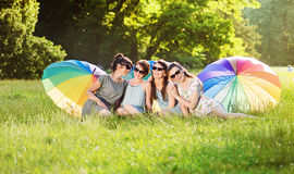 Portrait of four, pretty ladies in the park Royalty Free Stock Photography
