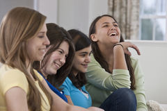 Portrait of a four teenage girlfriends having fun Royalty Free Stock Photos
