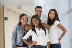 Portrait of four university student friends having fun Royalty Free Stock Images