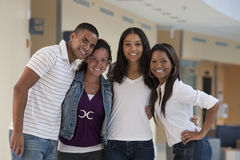 Portrait of four university students having fun Royalty Free Stock Image