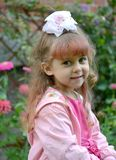 Portrait of the four-year-old girl in pink clothes royalty free stock photo