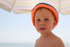 Portrait of four years boy on beach Royalty Free Stock Photos