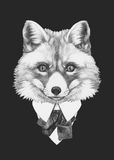 Portrait of Fox in suit. Hand drawn illustration Stock Photo
