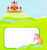 Portrait frame with fairy tale castle Stock Image