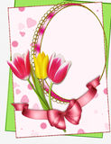 Portrait frame with tulips collage. Portrait frame with tulips on white, collage vector illustration