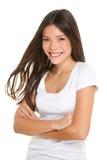 Portrait franc heureux de femme asiatique d'isolement sur le blanc Photo libre de droits