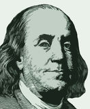 Portrait of Franklin from one hundred dollar note. The portrait of Franklin is copied from one hundred dollar note vector illustration