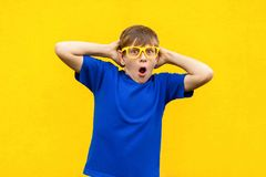 Portrait of  freckled boy with shocked face. Holding hands near head, open mouth and looking at camera. Studio shot, yellow background Royalty Free Stock Image