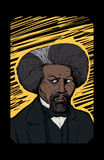 Portrait of Frederick Douglass Over Yellow Etching. Hand drawn abstract portrait of famous African American leader named Frederick Douglass royalty free illustration