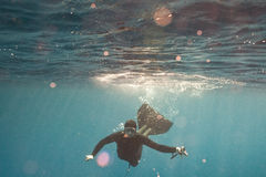 A portrait of freediver with camera Royalty Free Stock Photos