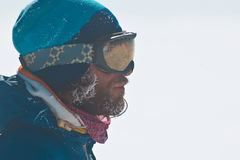 Portrait of freerider. Winter portrait of skier outdoor Royalty Free Stock Images