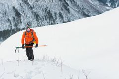 Portrait of a freerider on the ascent. Portrait of a freerider man on climbing uphill waiting for freeride skiing backcountry. The concept of extreme winter Stock Images