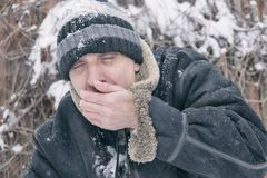 Portrait of a freezing man royalty free stock photos