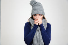 Portrait of a freezing woman Stock Photography