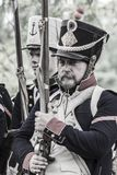 Portrait of a french napoleonic soldier in the platoon Royalty Free Stock Images