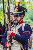 Portrait of a french napoleonic soldier in the platoon Stock Photography