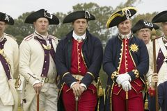 Portrait of French and Patriot Revolutionary. Re-enactors as part of the 225th Anniversary of the Siege of Yorktown, Virginia, 1781, ending the American Stock Photo