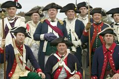 Portrait of French and Patriot Revolutionary re-enactors as part of the 225th Anniversary of the Siege of Yorktown, Virginia, 1781. Ending the American Royalty Free Stock Image