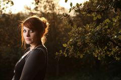 Portrait of a  french woman. Close-up portrait of a beautiful young french woman Royalty Free Stock Photography