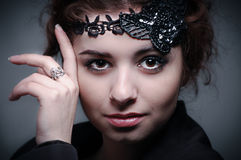 Portrait of french woman wearing accessories Royalty Free Stock Images
