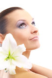 Portrait of Fresh and Beautiful. Woman with flower isolated on white royalty free stock photo