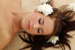 Portrait of Fresh and Beautiful brunette woman lay royalty free stock photos