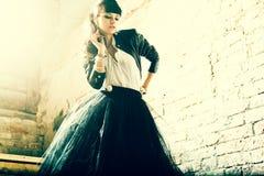 Portrait of a fresh beautiful fashion mod. Stock Photo
